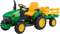 Kids Ride-on Tractor John Deere 12v Battery Powered Electric Car Vehicle Trailer