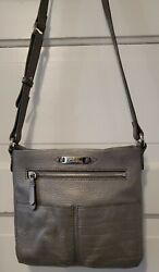 Women#x27;s Cole Haan Silver Pebbled Leather Crossbody Bag Adjustable Strap $21.95