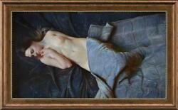 Hand Painted Original Oil Painting Art Portrait Nude Girl On Canvas 24x40