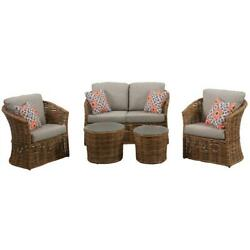 Lexi 5pc Set 2 Stationary Chairs Loveseat And 2 Woven Glass Top Tbls