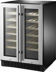 Insignia- 42-bottle Or 128-can Dual Zone Wine And Beverage Cooler With Glas...
