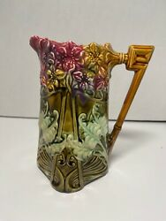 Frie Onnaing France French Majolica Pitcher 825 Hyacinths Art Nouveau Design