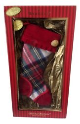 4 Waterford Holiday Heirlooms White Stewart Mini Plaid Stocking New In The Box