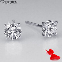 1.06 Ct Solitaire Diamond Earrings Women White Gold Si1 Msrp 7800 32350712