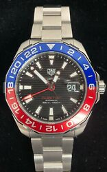 Tag Heuer Aquaracer Automatic Gmt Black Dial Pepsi Menand039s Watch Way201f.ba0927