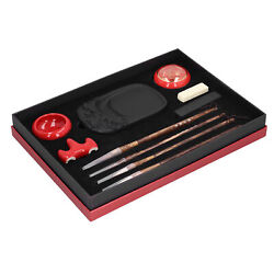 Chinese Calligraphy Practice Set Red Porcelain Brush Pen Ink Paper Inkstone Hot