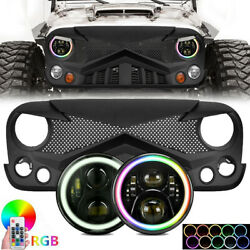 Front Grille Grill + 7and039and039 Rgb Led Headlights W/remote For Jeep Wrangler Jk 07-18