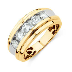 1.25 Carat Round Cut Menand039s Diamond Ring Solid 14k Yellow Gold Band Size 5 6 7