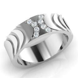 0.15 Ct Diamond Round Cut Band 18k Certified White Gold Mens Rings Size T U V W