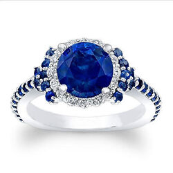 1.72 Ct Real Blue Sapphire Diamond Engagement Rings 14k White Gold Size 5 6 7 8