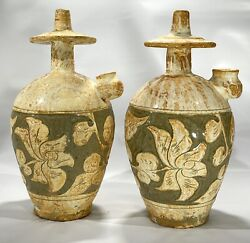 Antique Dehua Song Dynasty Or Later Carved Blanc De Chine Oil Lamp Vase Pair