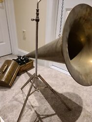 Antique Working 1903 Edison 'standard' Oak Wind-up Cylinder Phonograph With Horn