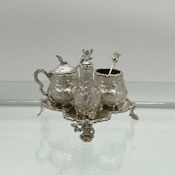 Victorian Sterling Silver Condiment Set On Stand London 1879 George Fox