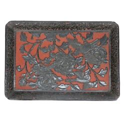 Antique Chinese Cinnabar Red And Black Lacquered Tray.