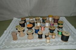 Lot Of 28 Spools Of Thread Bobbins Old Wooden Different Sizes Brands