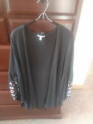 Maurices Womens Grey Gray Floral Embroided Open Knit Cardigan Nwot L Large