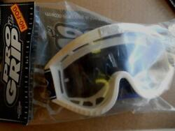 Nos Pro Grip No Fog White Goggles Pg-3300 Clear Lens