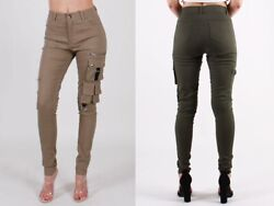 New Solid Skinny Womenand039s Military Hiking Cotton Twill Utility Khaki Cargo Pants