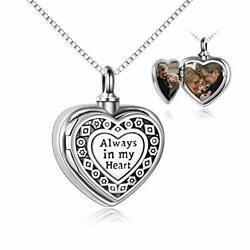 Sterling Silver Locket For Ashes Always In My Heart Urn Necklace For Ashes He...