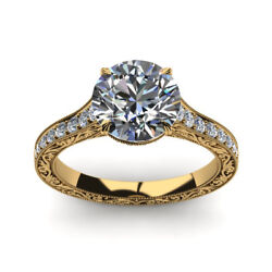 0.75 Ct Round Cut Real Diamond Engagement Rings 14k Solid Yellow Gold Size 5 6 7