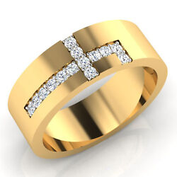 14k Yellow Gold Mens Bands 0.21 Ct Certified Diamond Wedding Rings Size 11 10 9