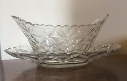 Antique 18th / 19th C. Anglo Irish Cut Crystal Glass Bowl Compote And Platter Tray