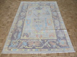7and0398 X 10and0394 Hand Knotted Beige Turkish Oushak Oriental Rug G10975