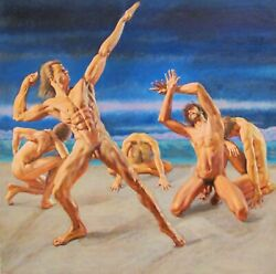 Nude Male Original Oil Painting Magick Circle Of Power By Earle Jay Goodman