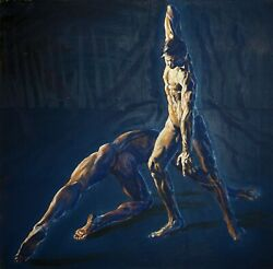 Nude Male Original Oil Painting Magick Dominance By Earle Jay Goodman
