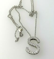 Natural Diamond Initial S Letter Pendant Necklace In 14k White Gold 16inch
