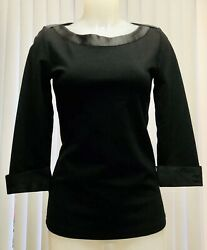 Black Logo Boat Neck Top 3/4 Sz S Embroidered