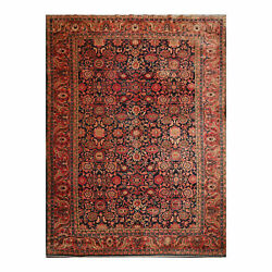 8and0397 X 11and03910 Hand Knotted 100 Wool Hamadann Traditional Oriental Area Rug Navy