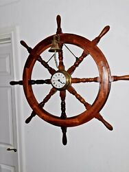 Vintage Large Wooden And Brass Ship Wheel With Estyma Clock And Bell Vgc 90cm