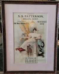 Blatz Brewing Co's Ss. Patterson 1904 Vintage Framed Advertisement And Calendar.