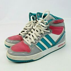 Adidas High Top Sneakers Size 5 Basketball Shoes Trefoil Turquoise Pink Gray
