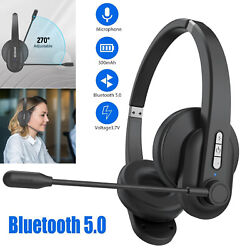 Bluetooth Headset Wireless Trucker Driving Office Headphone Noise Cancelling Mic $25.98