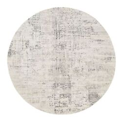 8'1x8'1 Light Gray Undyed Natural Wool Modern Hand Knotted Round Rug G62897