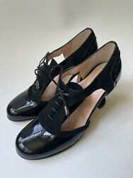 Anyi Lu Black Shoes Leather And Suede Jiver Pumps Handmade In Italy Size Eu 38.5
