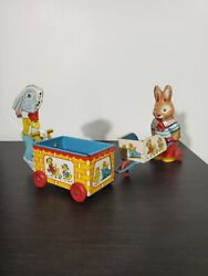 Vintage J. Chein And Co Toys   Bunny•rabbit Lot With Cart Tin Litho  wood Wheels 