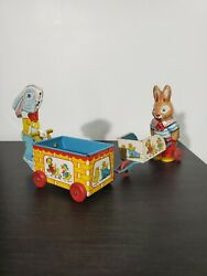 Vintage J. Chein And Co Toys | Bunny•rabbit Lot With Cart Tin Litho |wood Wheels|