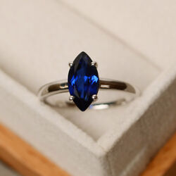 3.55 Ct Blue Sapphire 14k Solid White Gold Bridal Engagement Ring Size L M N O P