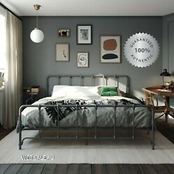 Metal Bed Frame King Country Style Vintage Iron Gray Modern Farmhouse Antique Us