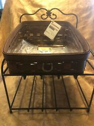 Longaberger Wrought Iron Paper Tray Stand And Basket Set - Rich Brown Basket - Euc