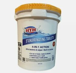 Hth Chlorine 3 Inch Tablets For Pool 37.5 Lbs New Bucket 4 In 1 Action Spa