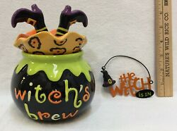 Halloween Décor Ceramic Dish Witch In Caldron Lid And Metal Hanging Sign Lot Of 2