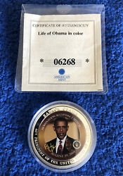 American Mint 'barack Obama's Acceptance Speech' Coin Issued 2009 Silver Plated