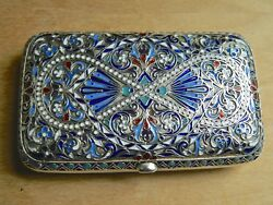 Antique Russian Imperial Silver And Enamel Cigarette Case Sale 800. Off