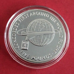 Concorde 2006 Gibraltar Silver Proof Andpound5 Crown - First Around The World Flight