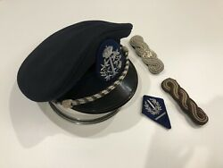 Vintage Unknown Belgian Police Hat W/ Insignia Shoulderboards And Collar Tab