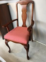 Set Of Six Harden Queen Anne Style Solid Cherry Chairs....2 Arm 4 Sides